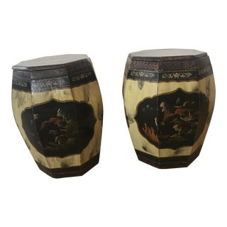 Late 19th Century Chinese Octagonal Painter Side Tables With Lids - a Pair