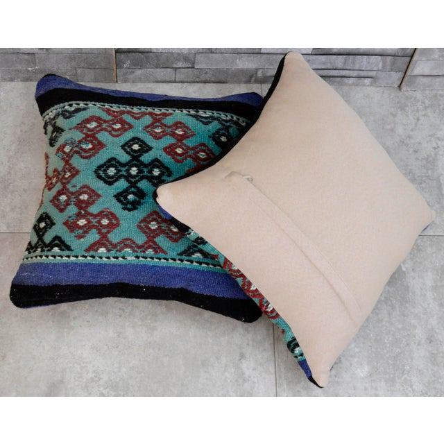 Contemporary Vintage Turkish Kilim Pillow Covers - A Pair For Sale - Image 3 of 4