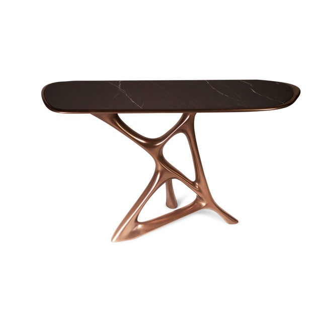 Metal Amorph Anika Console, Bronze Finish With Black Marble For Sale - Image 7 of 9