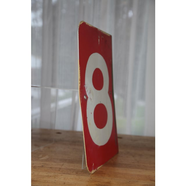 Vintage Number 8 Red Metal Sign From Airplane Hanger For Sale - Image 4 of 10