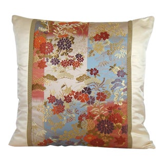 Floral Ikat Checkerboard Japanese Obi Pillow Cover For Sale