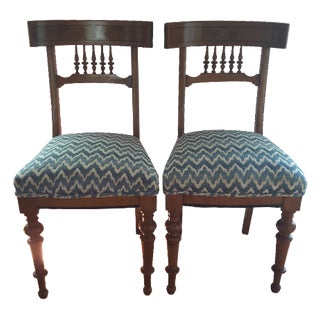 Klismos-Style Burl Wood Spindle Chairs - A Pair For Sale