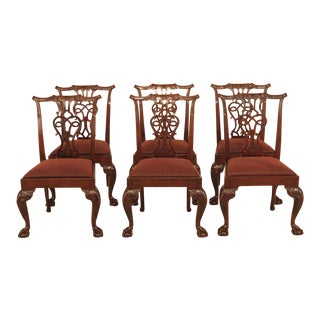 1990s Vintage Baker Chippendale Mahogany Dining Room Chairs- Set of 6 For Sale