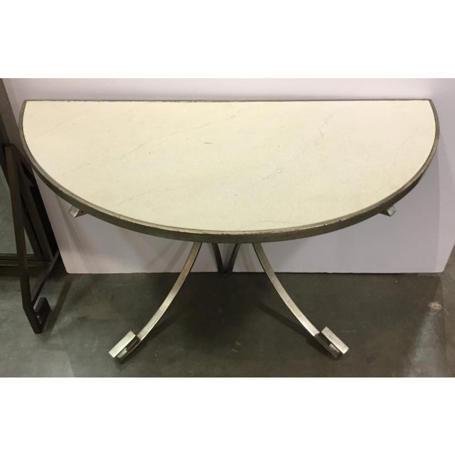 Modern Vangaurd Modern Metal and Stone Demi-Lune/Console Table For Sale - Image 3 of 7