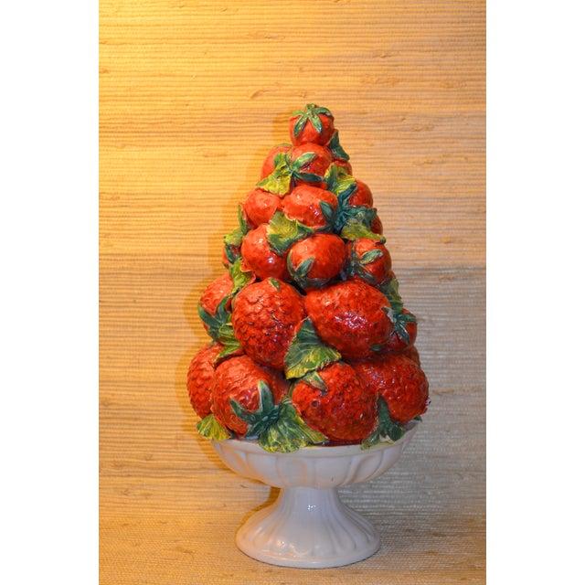 Mid-Century Italian Majolica Strawberry Topiary - Image 3 of 5