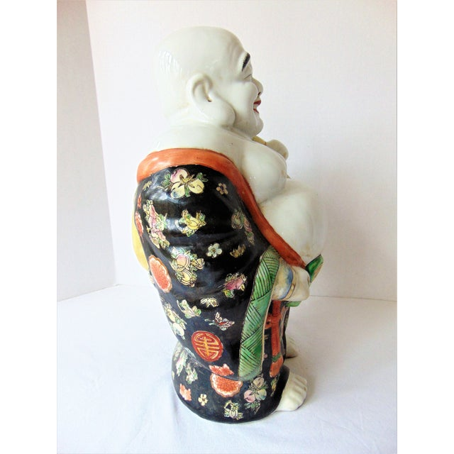 Vintage Chinese Porcelain Buddha Figurine For Sale - Image 4 of 7