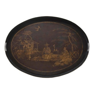 Vintage Tole Oval Tray With Handpainted Oriental Scene For Sale