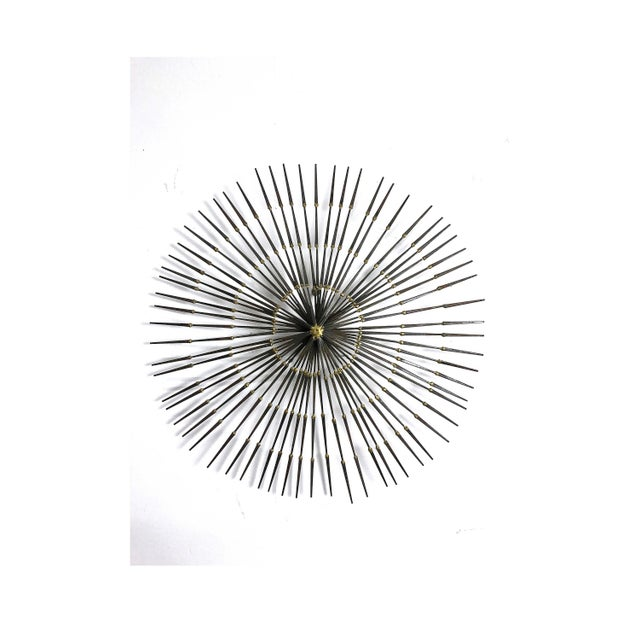 1970s Vintage Brutalist Welded Nail Starburst Wall Sculpture For Sale - Image 11 of 11