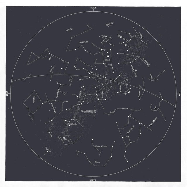 Square Vintage Minimal Star Map With Constellations - Slate Gray For Sale - Image 4 of 4