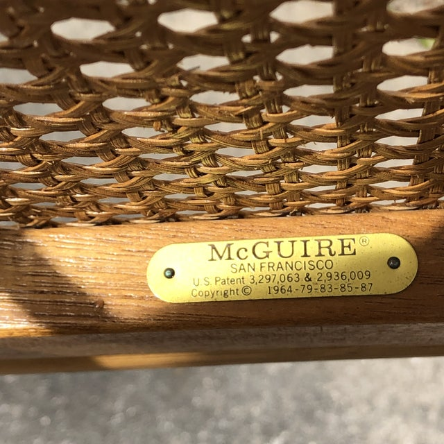 """Hollywood Regency McGuire """"Cracked Ice"""" Rattan Chairs - a Pair For Sale - Image 9 of 10"""
