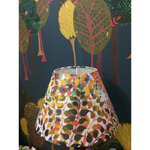"""Confetti Leaves 12"""" Coolie Lamp Shade in Ash Grey For Sale - Image 4 of 5"""