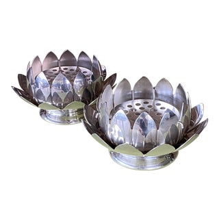Vintage Silver Plated Lotus Flower Vase Frog-A Pair For Sale