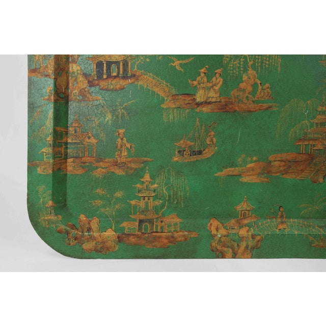 Vintage Chinoiserie Green Tray With Hand Painted Scenery in Gold Paint For Sale In New York - Image 6 of 12