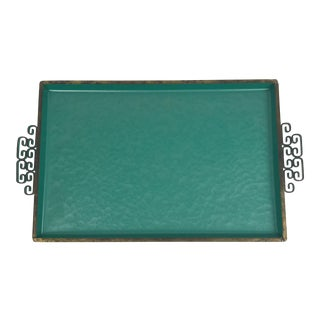 Vintage Handmade Kyes Tray in Teal Moire Glaze