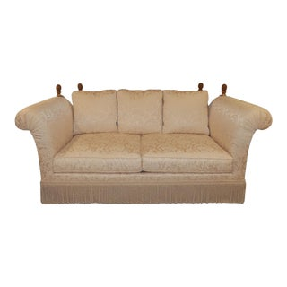 Taylor King Traditional Knoll-Style Rolled Arm Damask Sofa For Sale