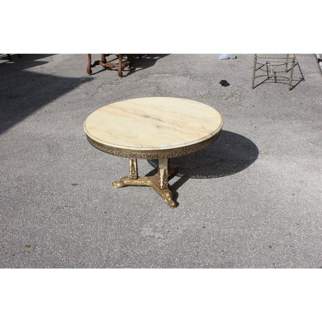 1940s Art Deco Maison Jansen Bronze Onyx Top Round Coffee Table For Sale In Miami - Image 6 of 13