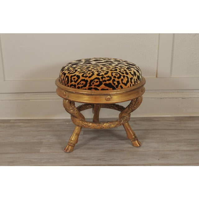 Gold 20th Century Charles X Style Giltwood Leopard Upholstered Stool For Sale - Image 8 of 8