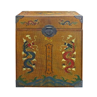 Chinese Golden Brown Dragon Graphic Trunk Box For Sale