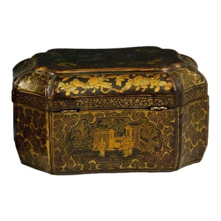 Mid 19th Century Antique English Chinoiserie Tea Caddy For Sale