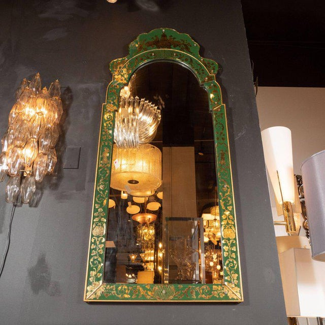 Mid-Century Modern Emerald Reverse Églomisé Mirror With Gilt Detailing For Sale - Image 4 of 10