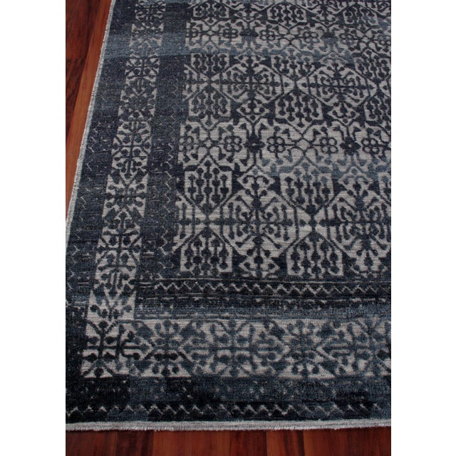 Navy Blue Buckingham Navy Blue Hand knotted Wool Area Rug - 6'x9' For Sale - Image 8 of 9