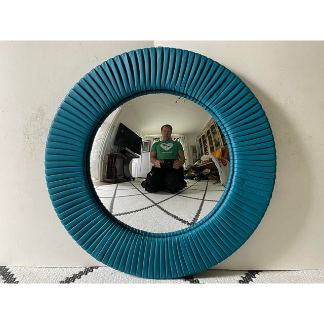 Turquoise Poltrona Frau Convex Leather Mirror For Sale - Image 8 of 8