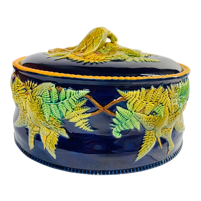 Mid 19th Century Antique Majolica Cobalt Blue Rabbit and Game Bird Tureen Dish With Lid by Brownfield For Sale