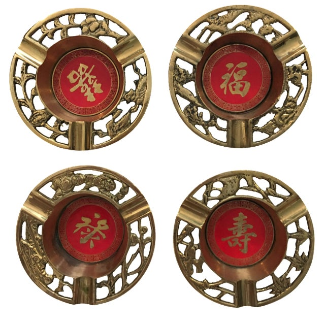 Brass Asian Ashtrays - Set of 4 - Image 1 of 9