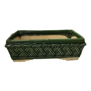 1970s Vintage Ceramic Green Glazed Planter For Sale