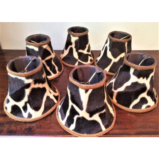 Late 20th Century Silk-Lined Velvet Cow Hide Pattern Lamp Shades for Chandelier or Sconces - Set of 6 For Sale - Image 5 of 10