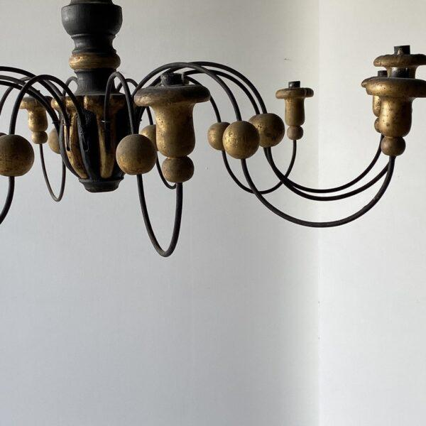 Metal Mid-19th Century Parcel-Gilt Wood and Metal Chandeliers - A Pair For Sale - Image 7 of 9