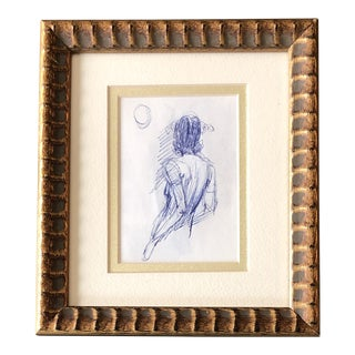 Original Vintage Ink Female Looking at Moon 1970's Study Sketch For Sale