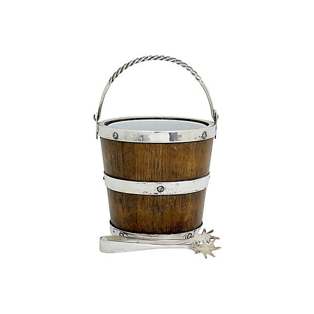 Arts & Crafts Oak & Porcelain Ice Bucket W/ Tongs For Sale - Image 4 of 4