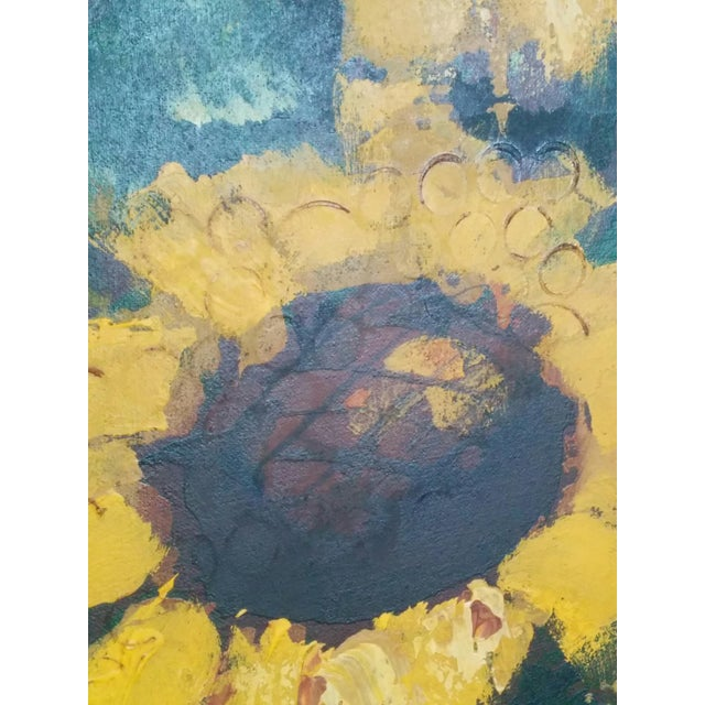 Boho Chic Mid-Century R. Styles Modernist Sunflowers Painting For Sale - Image 3 of 6