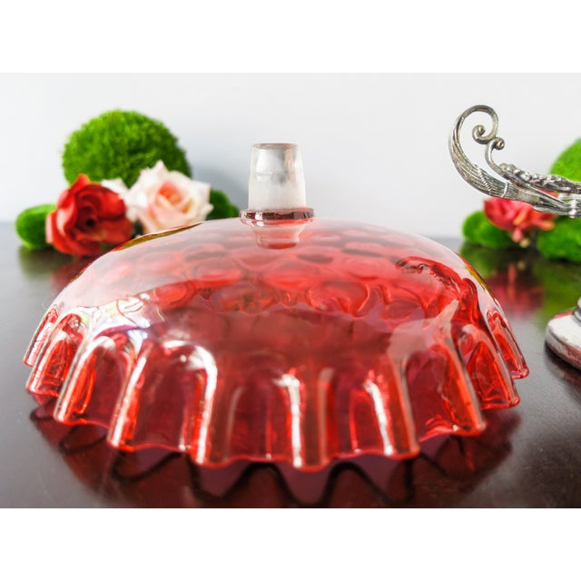 Antique Victorian Bride's Basket Cranberry Glass Bowl Centerpiece - Image 3 of 9