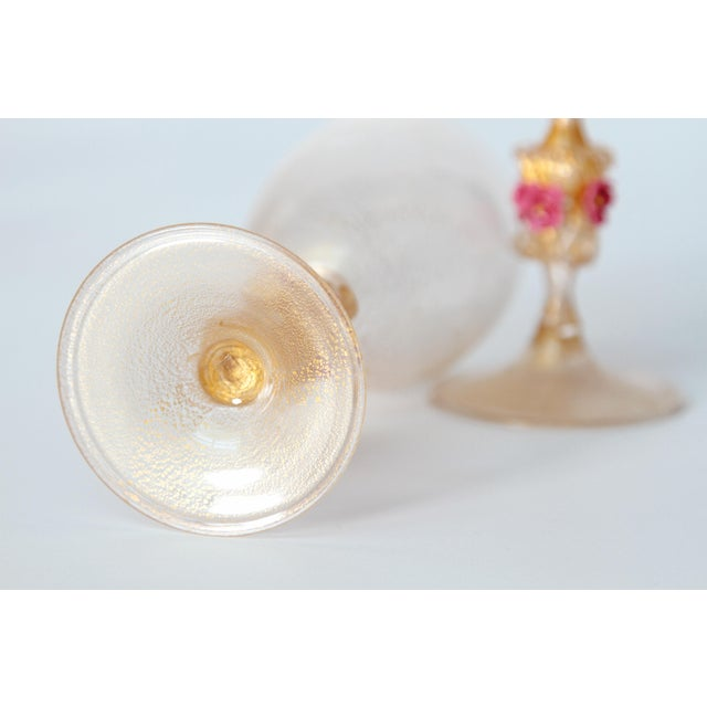 Murano Amber Glass Wine Goblets From Italy For Sale - Image 11 of 13