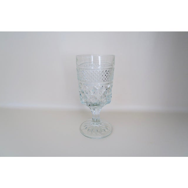 """Set of 4 vintage Anchor Hocking clear glass wine glasses. In the Wexford pattern. Each glass measures 6 1/2"""" tall x 3""""..."""