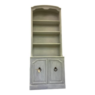 Painted White Gray Tall China Cabinet Book Case For Sale