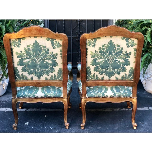 Wood Minton-Spidell Mariano Fortuny Louis XVI Bergere Chairs - a Pair For Sale - Image 7 of 8