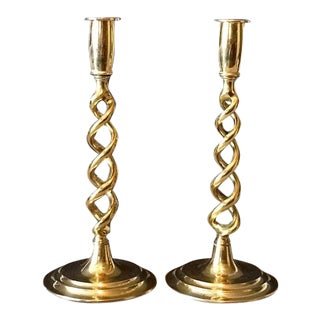 Mid 20th Century Peerage England Brass Barley Twist Candlesticks - a Pair For Sale