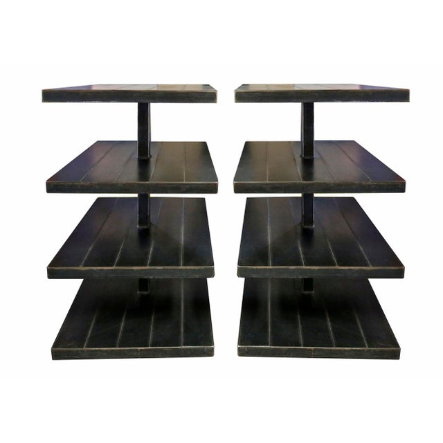 Black Metal Shelves - A Pair For Sale - Image 4 of 4