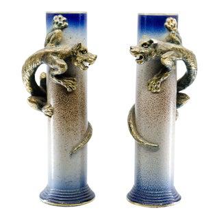 Art Nouveau Sarreguemines Porcelain and Bronze Decorative Vases - a Pair For Sale