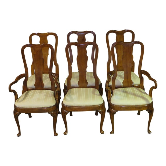 Vintage Queen Anne Style White Co Furniture Dining Room Chairs