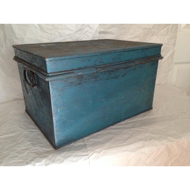 Vintage Metal Locking Box - Image 4 of 8