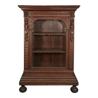 Italian Carved Oak Figural China Cabinet Vitrine Bookcase, Late 1700s For Sale