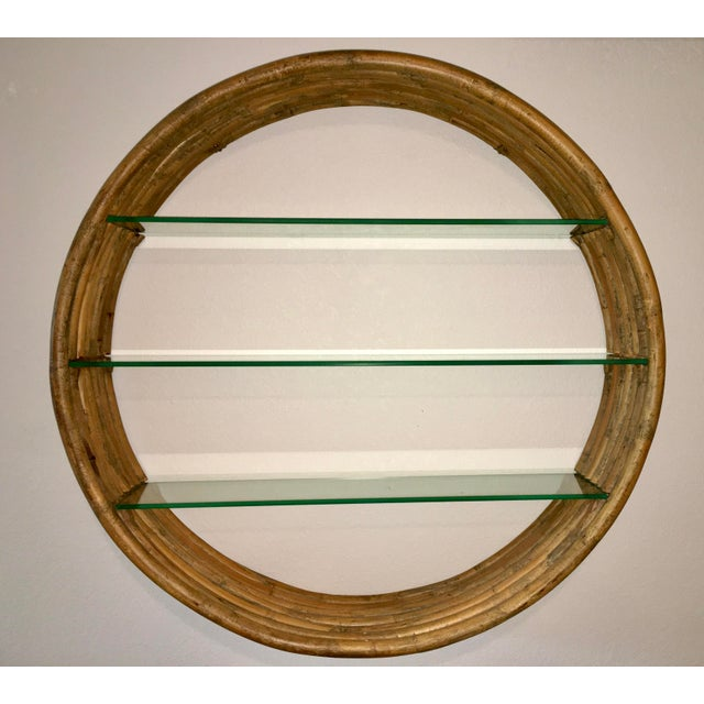 Mid Century Paul Frankl Large 7-Strand Bamboo Rattan Circular Wall Shelf Unit For Sale - Image 12 of 12