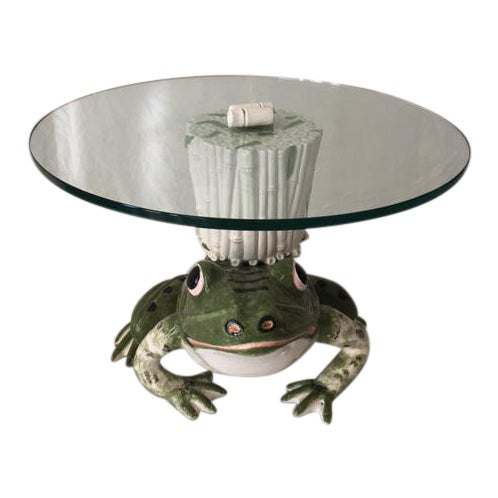 Italian Ceramic Glass Top Frog Table For Sale