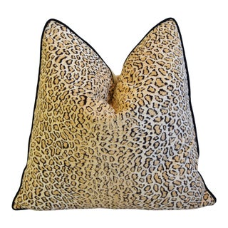 """Cheetah Leopard Velvet Animal Pattern Feather/Down Pillow 22"""" Square For Sale"""