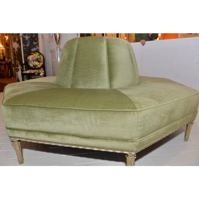 Gorgeous, Caracole Modern Celery Green Velvet and White Stone Round/Octagonal Banquette Prototype, champagne finished...