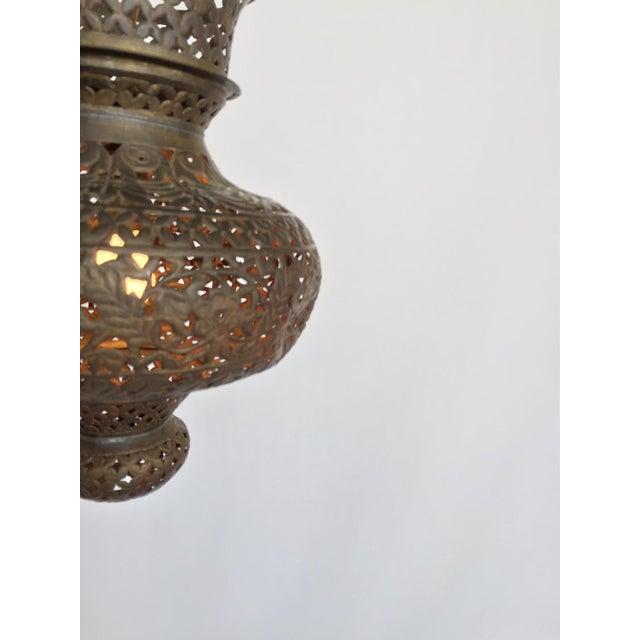 Pierced Bronze Moroccan Pendant Lamp - Image 4 of 4
